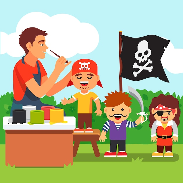 Kids Pirate Face Painting Party In Kindergarten Vector Free Download