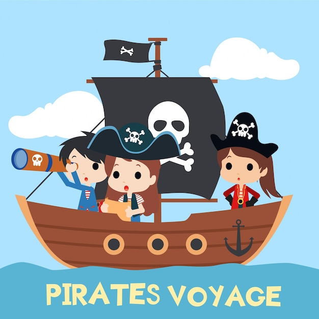 Premium Vector | Kids pirate illustration with cute character