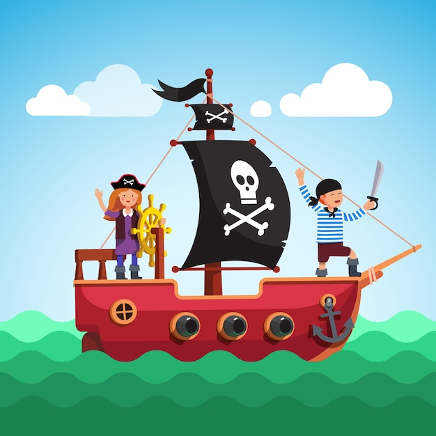 Kids pirate ship sailing in the sea with flag Free Vector