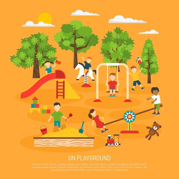 Kids plaing poster Free Vector
