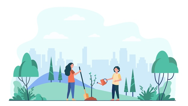 도시 공원에서 나무를 심는 아이. 야외에서 녹색 식물을 사용하는 원예 도구를 가진 아이들. 무료 벡터