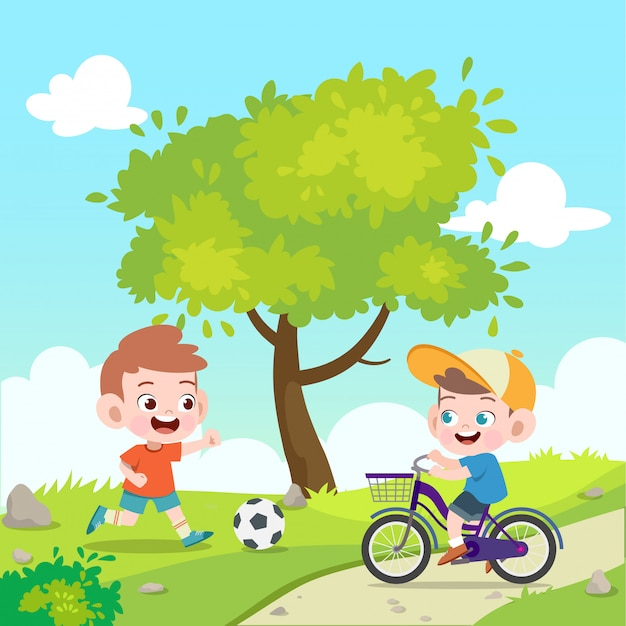 Kids play football and bicycle vector illustration Premium Vector