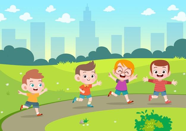 Kids play in the garden vector illustration Premium Vector