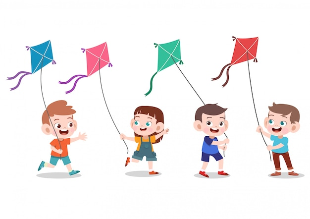 Kids play kite together Premium Vector