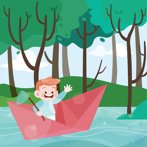 Kids play in the paper boat vector illustration Premium Vector