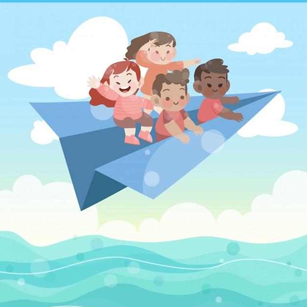 Kids play in paper plane vector illustration Premium Vector