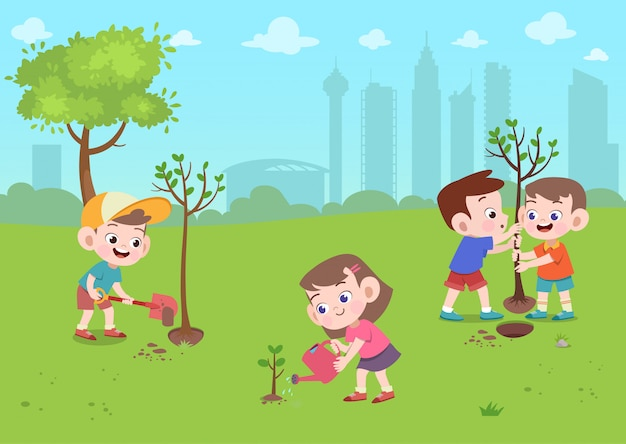 Kids play in park Premium Vector