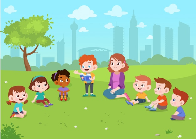 Kids play in park Premium Vector