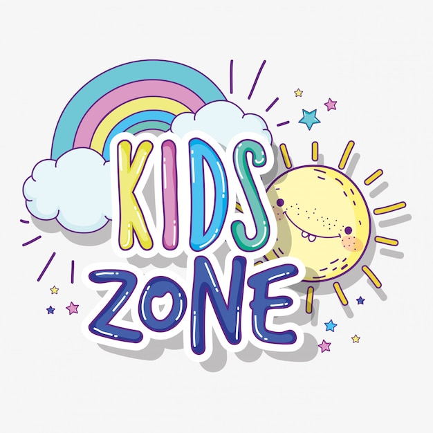 Kids play zone with sun and rainbow Premium Vector