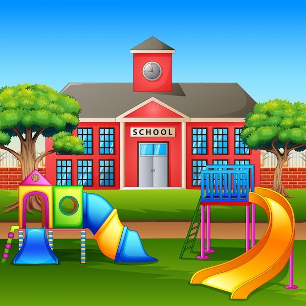 Kids playground area in front the school yard Premium Vector