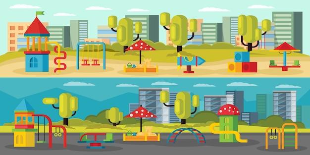 Bandiere orizzontali del parco giochi per bambini Vettore gratuito