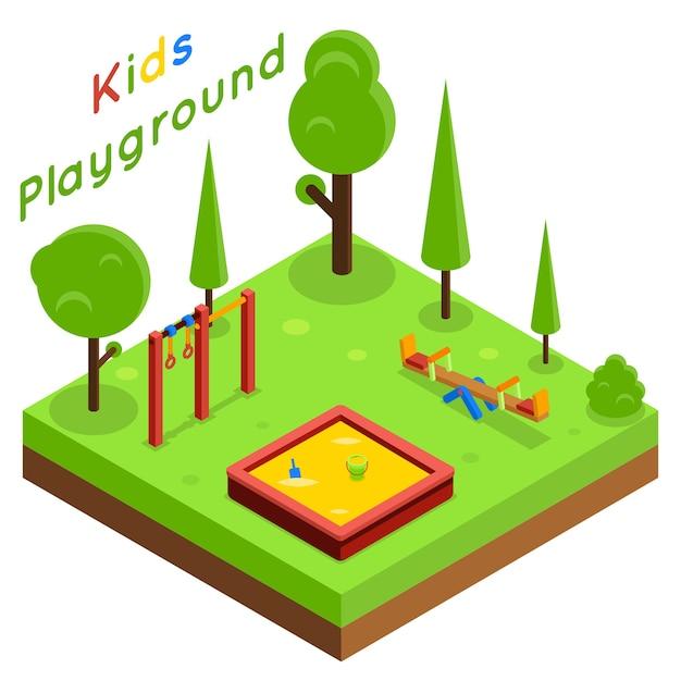 子供の遊び場等尺性フラットベクトル。公園の遊び、木と風景のイラスト 無料ベクター