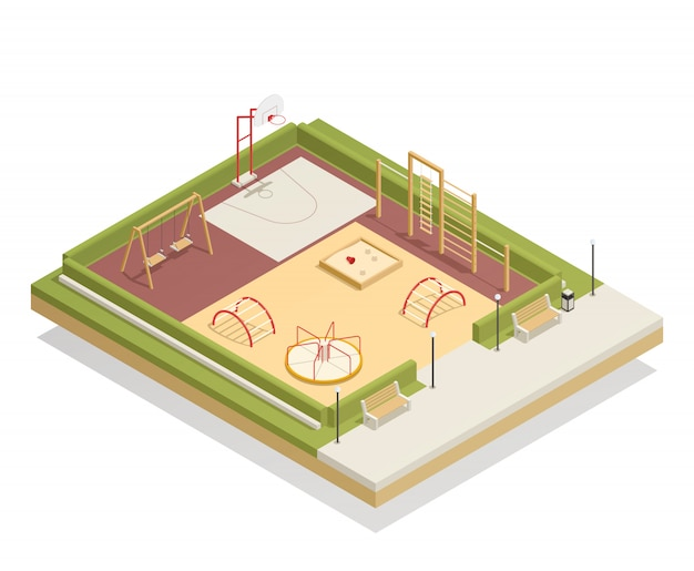Kids playground isometric mockup with carousel and swings, basketball ring, sandbox and climbing frames, benches Free Vector