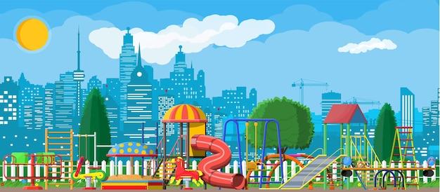 子供の遊び場幼稚園のパノラマ。 Premiumベクター