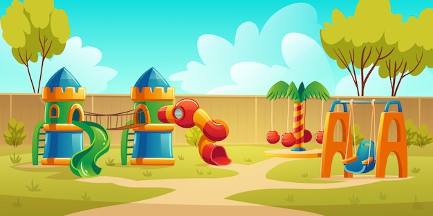 Kids playground in summer park with carousel Free Vector