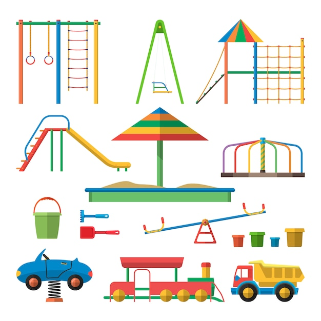 Kids playground vector illustration with isolated objects. children design elements in flat style. Premium Vector
