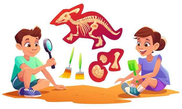 Kids playing in archaeologists working on paleontology excavations digging soil with shovel and exploring artifacts with magnifying glass. children study dinosaurs fossil. cartoon illustration Free Vector