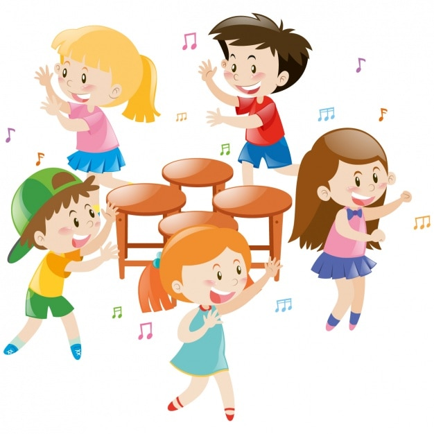 Kids playing around the chairs vector free download for Chaise musicale