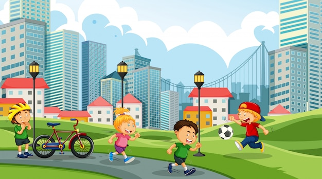 Kids playing in city park Free Vector