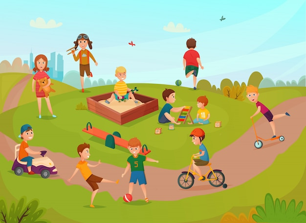Kids playing composition Free Vector