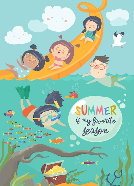 Kids playing and enjoying at waterpark in summer vacation Premium Vector