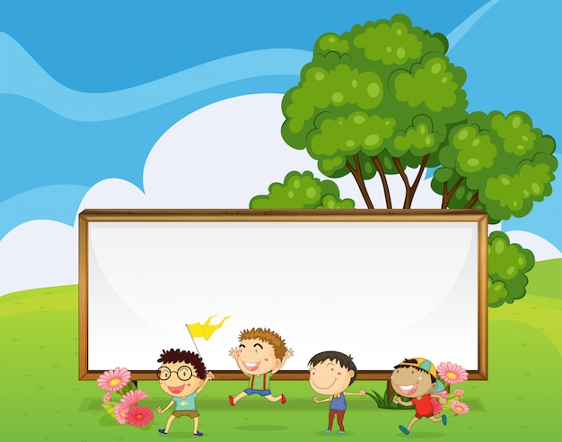 Kids playing in front of the big empty signboard Free Vector