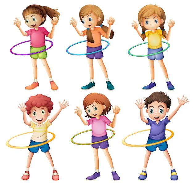 Kids playing hulahoop Free Vector