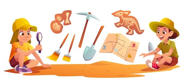 シャベルで土壌を掘る古生物学の発掘に取り組んでいる考古学者で遊ぶ子供たち 無料ベクター