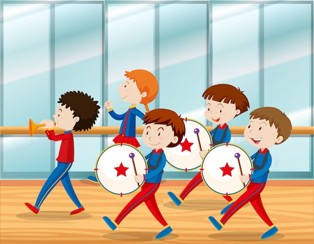 Kids playing music in school band Premium Vector