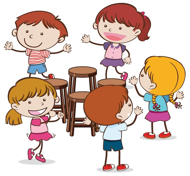 Kids playing musical chairs on white background Vector ...