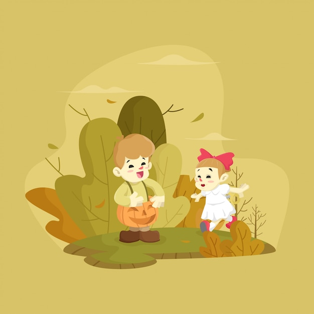 Kids playing outdoors illustration Premium Vector