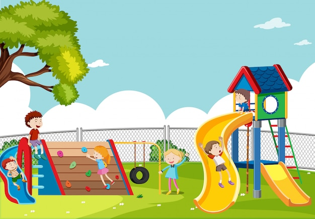 Kids playing in playground scene Free Vector