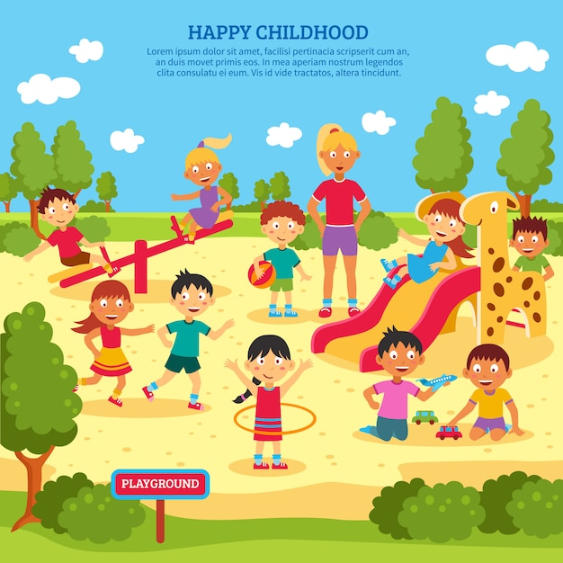 Kids playing poster Free Vector