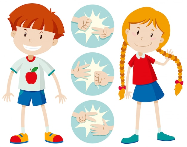 Kids playing rock scissors paper Free Vector