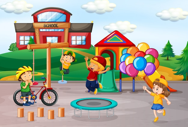Kids playing at school playground Free Vector