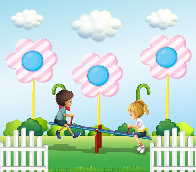 Kids playing seesaw at the park Free Vector