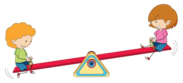Kids playing seesaw on white background Free Vector