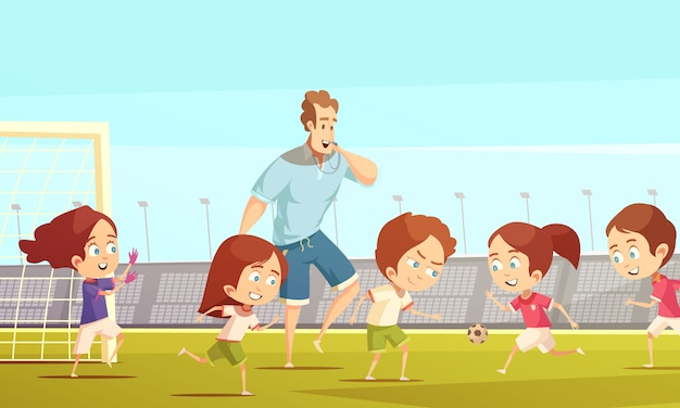 Kids playing soccer Free Vector