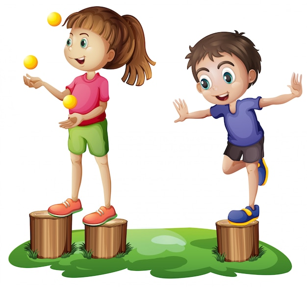 Kids playing above the stumps Free Vector