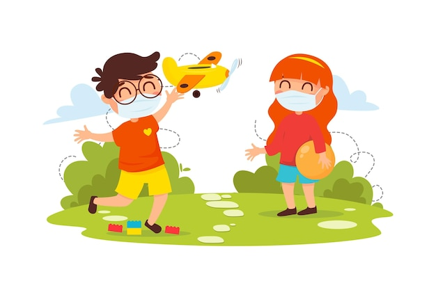 Kids playing together while wearing medical masks Free Vector