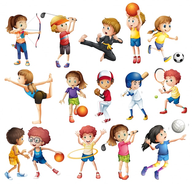 Kids playing various sports on white Free Vector