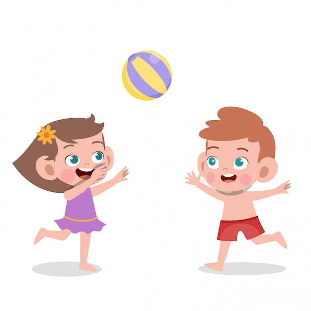 Kids playing to volleyball Premium Vector