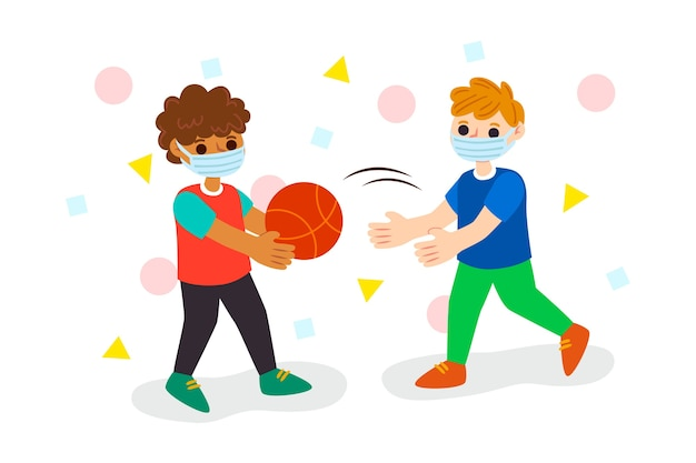 Kids playing and wearing mask Free Vector