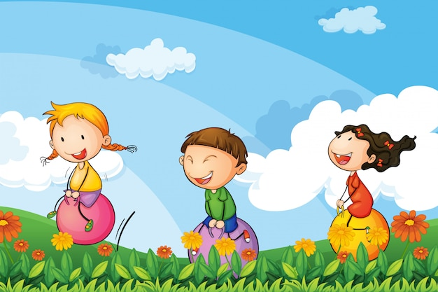 Kids playing with the bouncing balloons Free Vector