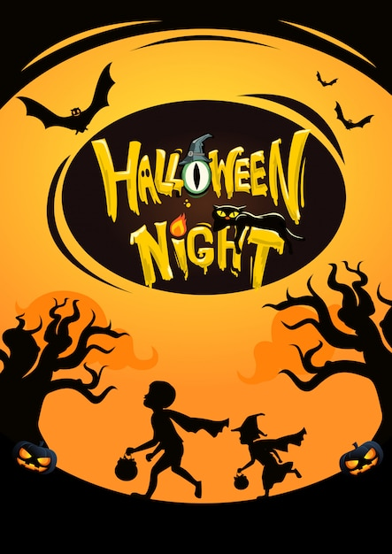 Дети играют с фоном ночи хэллоуина Premium векторы