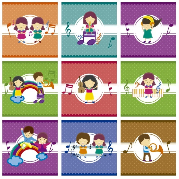 Kids playing with music vector free download