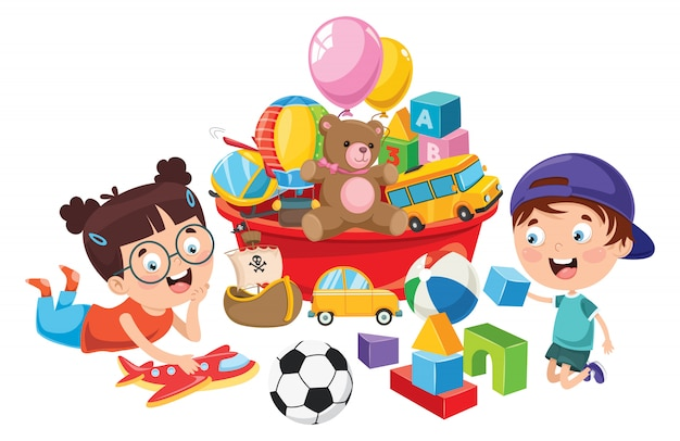 Kids playing with various toys Premium Vector
