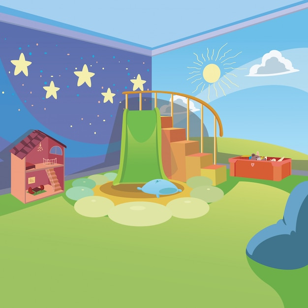 Kids playroom at home with cartoon style background Premium Vector