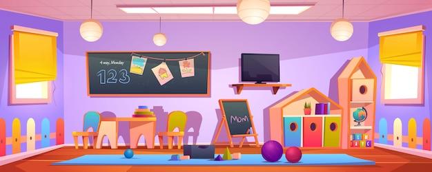 Kids playroom interior, empty indoors nursery room Free Vector