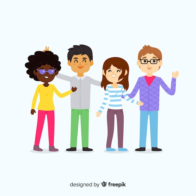 Kids posing for a photo Free Vector